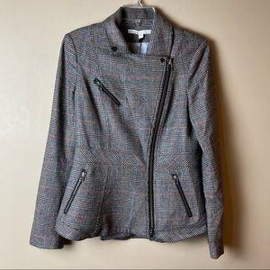 Veronica Beard Plaid Wool Zip Moto Jacket Blazer